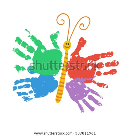 Handprint butterfly smiling colorful kids palm print for Butterfly hands craft