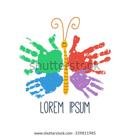 Handprint butterfly smiling. Colorful kids palm print. Children handprint art and crafts. Happy childhood concept. Preschool / primary school design element. Vector illustration isolated on white - stock vector