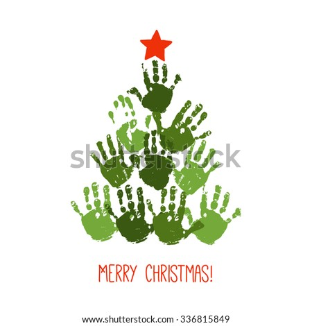 Handprint Christmas tree with red handdrawn star. Watercolor / acrylic kids Christmas art. Children Christmas crafts. Family Christmas card design. Vector eps 10 illustration isolated on white . - stock vector