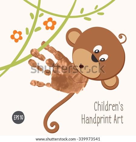 Handprint Monkey Climbing Jungle Hand Painted Stock Vector HD ...