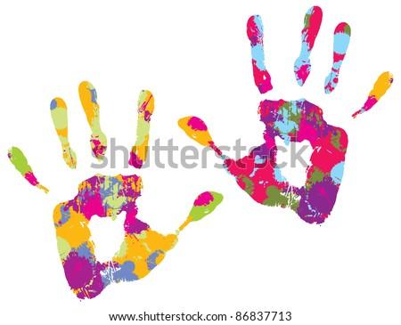 Handprint. Vector illustration - stock vector