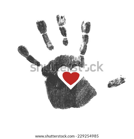 Handprint with red heart symbol. Vector - stock vector