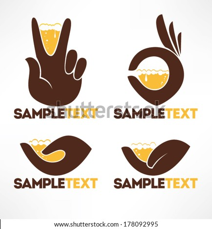 hands and drink, vector icons and emblems collection - stock vector