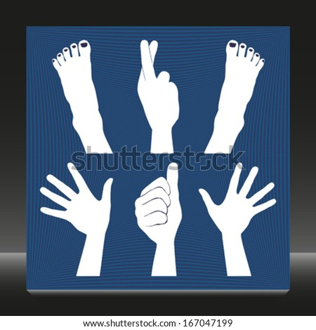 Hands and feet silhouettes.  - stock vector