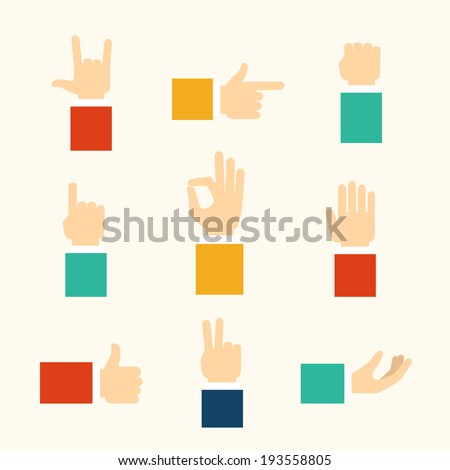 hands and fingers gestures, vector eps10 illustration - stock vector