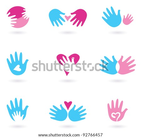 Hands and Love abstract icons collection isolated on white