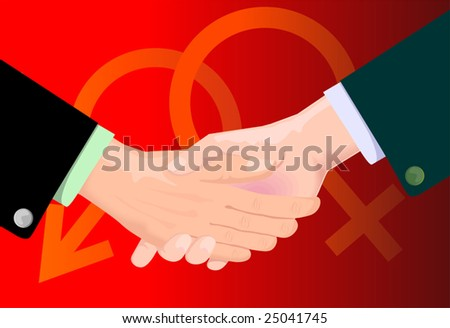 hands and male symbol in red shade background