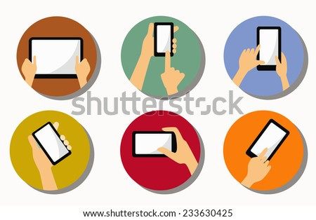 hands and mobile phone, flat icons - stock vector