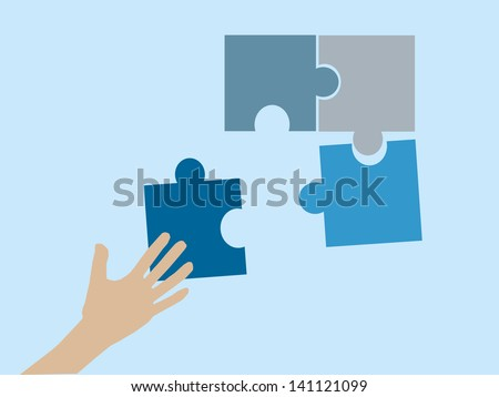 Hands and puzzle. Business concept. - stock vector