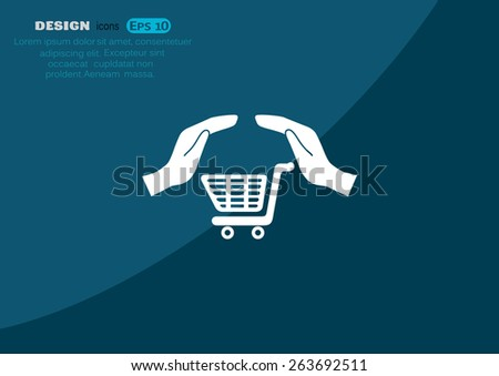 hands and shopping cart, sign purchase protection web icon. vect - stock vector