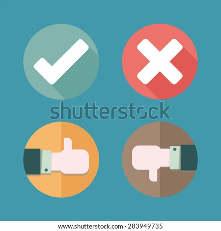 Hands are making thumbs up and down signals and Yes, No icon , EPS10 - stock vector