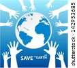 hands around Save the Earth - stock photo
