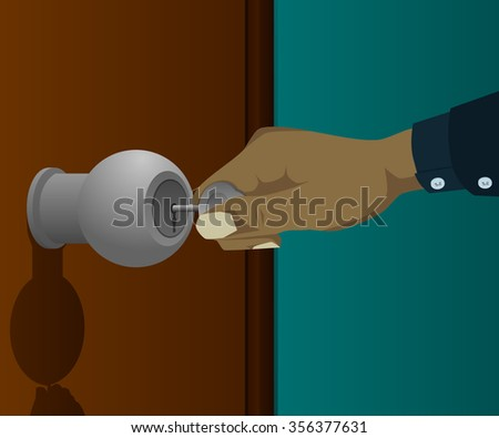Hands being inserted the key into the door - stock vector