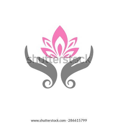 Hands care lotus. Hands holding a Lotus flower vector icon. - stock vector
