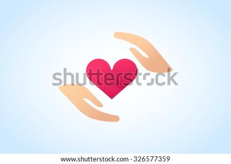 Hands care silhouette logo concept. Family mother and baby hands. Care logo, togetherness concept logo. Union abstract hands logo. Hands closeup vector. Abstract hands logo.Hands logo, care logo heart - stock vector