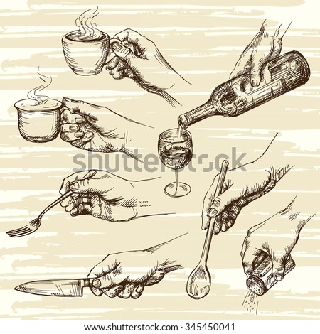 hands collection - stock vector