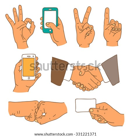 Hands. Colored vector icons, hand-drawn. - stock vector