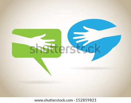 hands communications over gray background vector illustration - stock vector