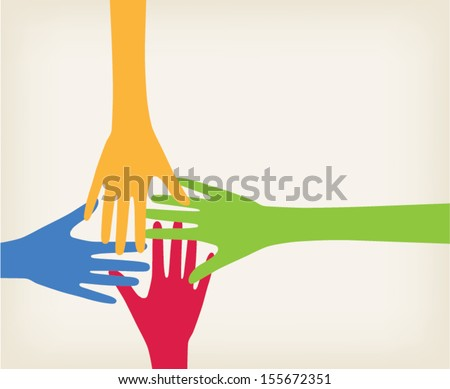 Hands connected, communication concept - stock vector