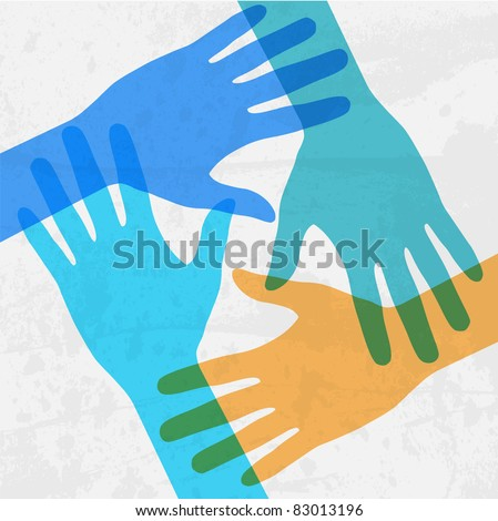 hands connecting - stock vector