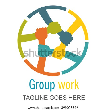 Hands connecting, Teamwork or Group work logo. Concept logotype template. Colorful style sign or symbol. Perfect logo for your business. Vector graphic illustration. - stock vector