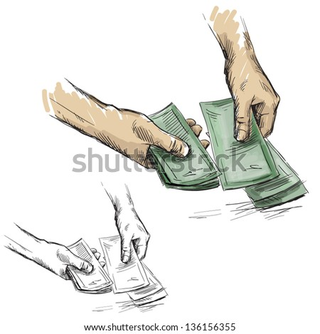 Hands counting cash money, vector illustration