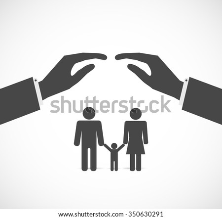 hands cover family concept icon - stock vector