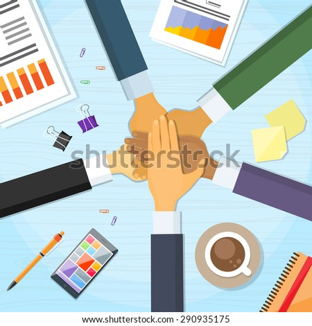 Hands Desk Team Leader Business People Pile Hand Stack On Each Other, Businesspeople Colleagues Concept Success Collaboration Leader Flat Vector Illustration - stock vector