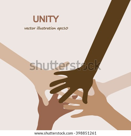 hands diverse unity togetherness  - stock vector