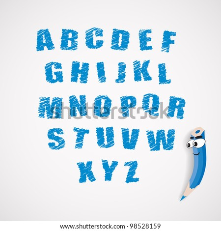 Hands draw alphabet and cartoon crayon. Vector eps10 illustration. - stock vector