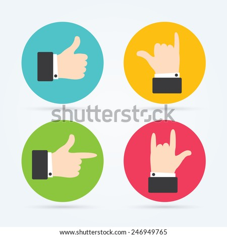 Hands flat icon. Vector illustration for your startup. Thumbs up icons set. Flat style social network vector icon for app and web site.