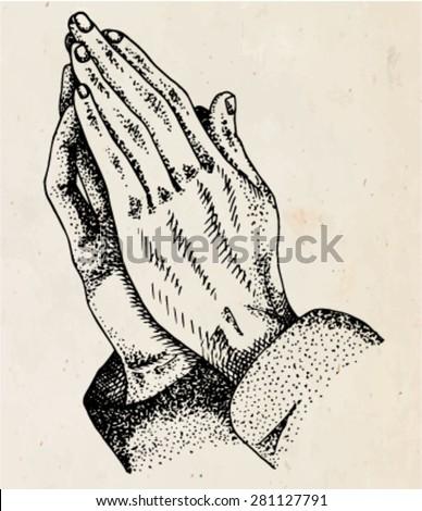 hands folded in prayer - stock vector