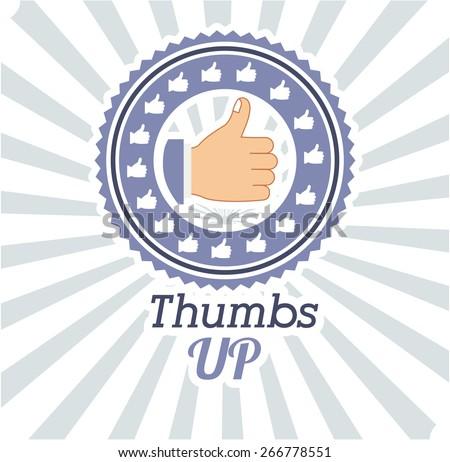 Hands gesture design over striped background, vector illustration - stock vector
