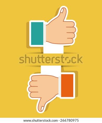 Hands gesture design over yellow background, vector illustration - stock vector
