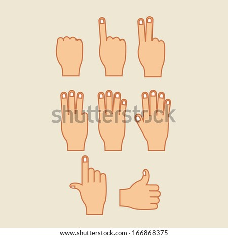 hands gesture over beige  background vector illustration - stock vector