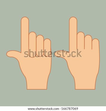 hands gesture over gray background vector illustration - stock vector