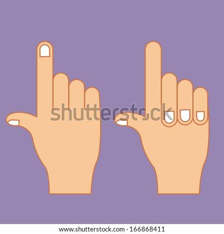 hands gesture over purple background vector illustration - stock vector