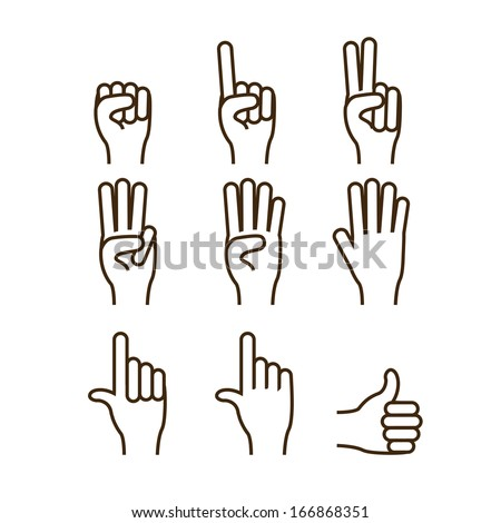 hands gesture over  white background vector illustration - stock vector
