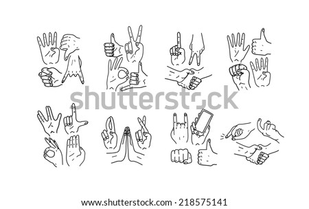 Hands.Gestures. Hand drawn vector illustration. Isolated. Doodle. - stock vector