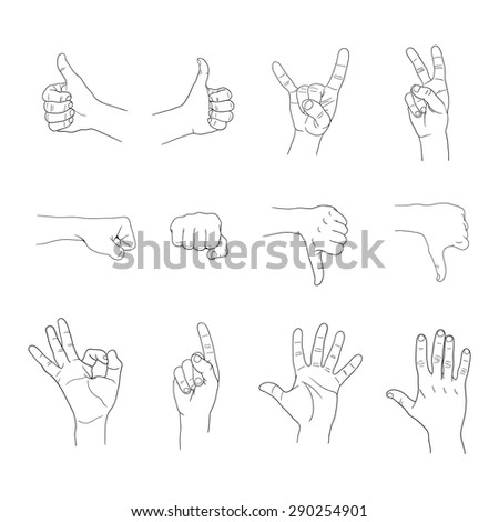 hands gestures set on white background