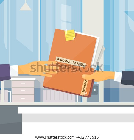 Hands Give Panama Papers Folder Secret Document Offshore Company Business People Owners Office Vector Illustration - stock vector