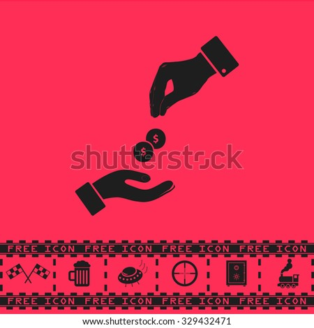 Hands Giving and Receiving Money. Black flat vector icon and bonus symbol - Racing flag, Beer mug, Ufo fly, Sniper sight, Safe, Train on pink background - stock vector