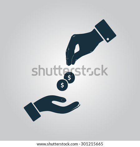 Hands Giving and Receiving Money. Flat web icon or sign isolated on grey background. Collection modern trend concept design style vector illustration symbol - stock vector