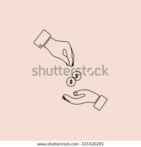 Hands Giving and Receiving Money. OOutline vector icon. Simple flat pictogram on pink background - stock vector