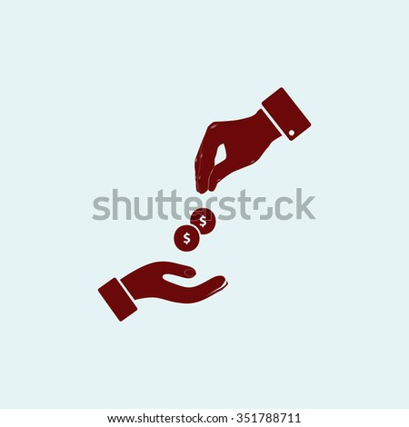 Hands Giving and Receiving Money. Red vector icon. Simple modern illustration pictogram. Collection concept symbol for infographic project and logo - stock vector