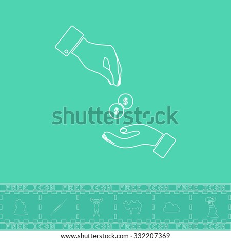 Hands Giving and Receiving Money. White outline flat symbol and bonus icon. Simple vector illustration pictogram on green background - stock vector