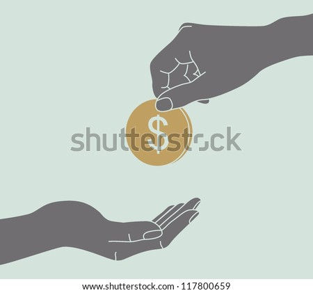Hands Giving & Receiving Money - stock vector