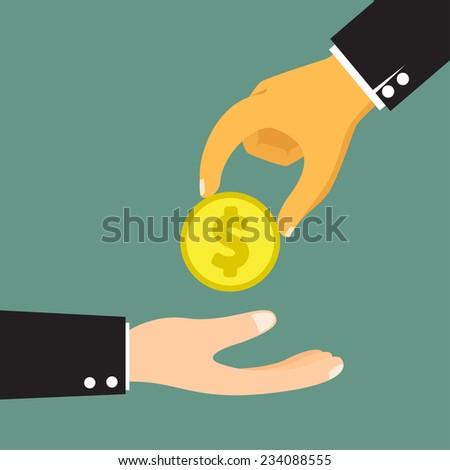 Hands Giving & Receiving Money vector illustration. - stock vector