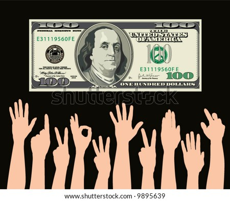 hands grab at a one hundred dollar bill - stock vector