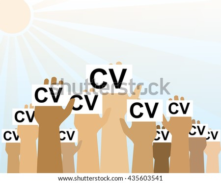 Hands Group Hold CV Profile Candidate Job Position, Business People to Hire  - stock vector